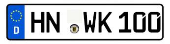 Standard KFZ Kennzeichen